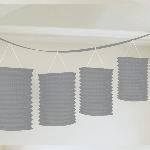 Guirnalda decorativa con lámparas de papel plateada-3,7m - Artìculos de Fiesta