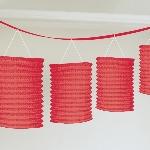 Guirnalda decorativa de lámparas de papel rojo-3,7m