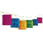 Guirnalda de lámparas de papel Tiki-Decoración hawaiana 3,7m