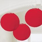 Lámparas decorativas de papel en rojo-24cm