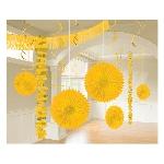 Kit Decoración de Salón de Papel y Metalizado Amarillo