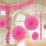 Kit Decoración Salón Papel y Aluminio Metalizado Rosa brillante