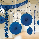 Kit decorativo de papel metalizado en azul fuerte