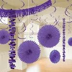 Kit Decoración de Salón de Papel y Metalizado Púrpura