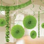 Kit Decoración de Salón de Papel y Metalizado en Verde Lima