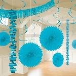Kit decorativo de papel y papel metalizado azul turquesa para la habitación