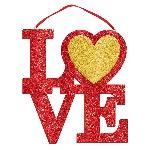 Letrero LOVE Colgante con Purpurina