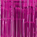 Cortina de flecos metálicos en rosa fucsia para la puerta