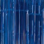 Cortina para la puerta azul metálica con flecos- 2,4m