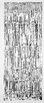 Cortina de flecos plateados para puerta-2,4m