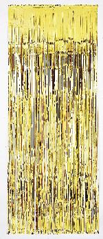 Cortina de flecos dorados metálicos para puerta-2,4m