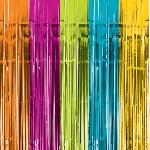 Cortina multicolor con flecos metálicos para puerta - Fondos para Photocall
