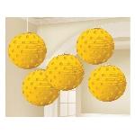 Lámparas decorativas amarillas con lunares metálicos