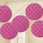 Lámparas decorativas en rosa fucsia con lunares metálicos