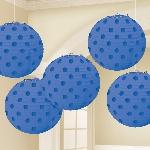 Lámparas decorativas azul fuerte con lunares metálicos