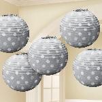 Lámparas decorativas plateadas con lunares