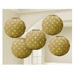 Lámparas decorativas doradas con lunares metálicos