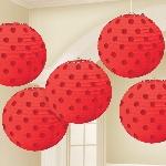 Lámparas decorativas en rojo con lunares metálicos