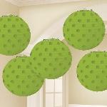 Lámparas decorativas en verde lima con lunares metálicos