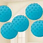 Lámparas decorativas azul turquesa con lunares metálicos