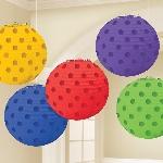 Lámparas decorativas colores del arcoiris con lunares metálicos
