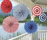 Abanicos de Papel Decorativos Rojo Blanco y Azul - 40cm