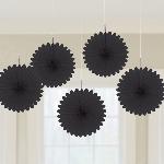 Rosetones de papel en negro-15,2cm