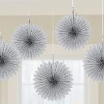 Rosetones de papel decorativos plateados-15cm
