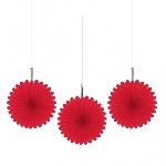 Rosetones de papel decorativos en rojo-15cm