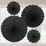 Rosetones de papel decorativos en negro brillante