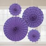Rosetones de papel decorativos en morado