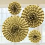 Rosetones de papel brillantes en dorado - Decoración