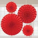 Rosetones de papel decorativos en rojo