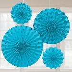 Rosetones de papel brillantes en azul turquesa