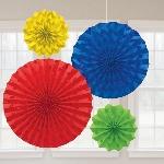 Rosetones de papel decorativos brillantes colores del arcoiris