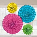 Rosetones de papel decorativos brillantes multicolores