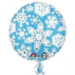 Globo azul y blanco con copos de nieve helados-metalizado 45cm
