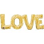 Globo dorado Frase Amor metalizado Love - 63cm