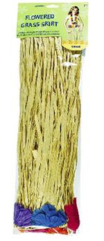 Falda de hierba Hula para niña a buen precio-Color natural con flores