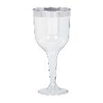 Copas de Plástico para Vino con Borde Plateado - 295ml