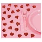 Corazones de Espuma y purpurina para decorar la mesa de San Valentín