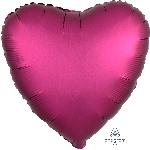 Globo Metalizado Rosa Profundo Satinado Corazón de Lujo - 45cm
