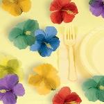 Flores Hibisco de Tela - Decoración Hawaiana