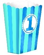 Cajas Blue Striped 1st Birthday Popcorn Favour