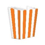 Cajas de palomitas rayadas blanco y Naranja - 13cm