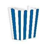 Cajas de palomitas rayadas blanco y azul real - 13cm - Cajas de Palomitas de Maíz