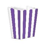 Cajas de palomitas para bufé con rayas violeta - 13cm