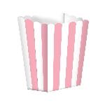 Cajas de palomitas rayadas blanco y rosa - 13cm