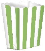 Cajas de palomitas rayadas blanco y verde kiwi - 13cm