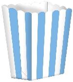 Cajas Rayadas Azul Caribe para Palomitas de Maíz - 13cm